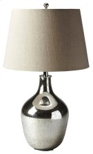 This elegant table lamp will brilliantly light any space. Featuring a mercury antique nickel, it is hand crafted from glass and aluminum with an iron harp and linen shade. Product Image