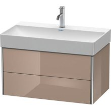 Vanity Unit Wall-mounted, Cappuccino High Gloss Lacquer