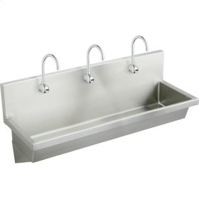 "Elkay Stainless Steel 60"" x 20"" x 8"", Wall Hung Multiple Station Hand Wash Sink Kit"