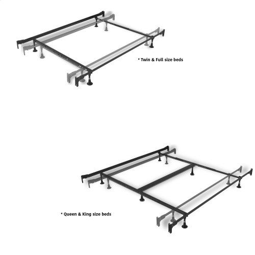 Kensington Complete Metal Bed with Stately Posts and Detailed Castings, Vintage Silver Finish, Queen