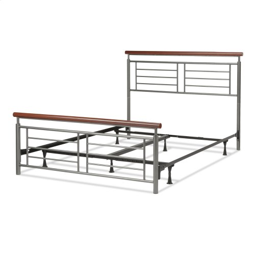 Fontane Complete Metal Bed and Steel Support Frame with Geometric Grills and Rounded Cherry Wood Color Top Rails, Silver Finish, Queen