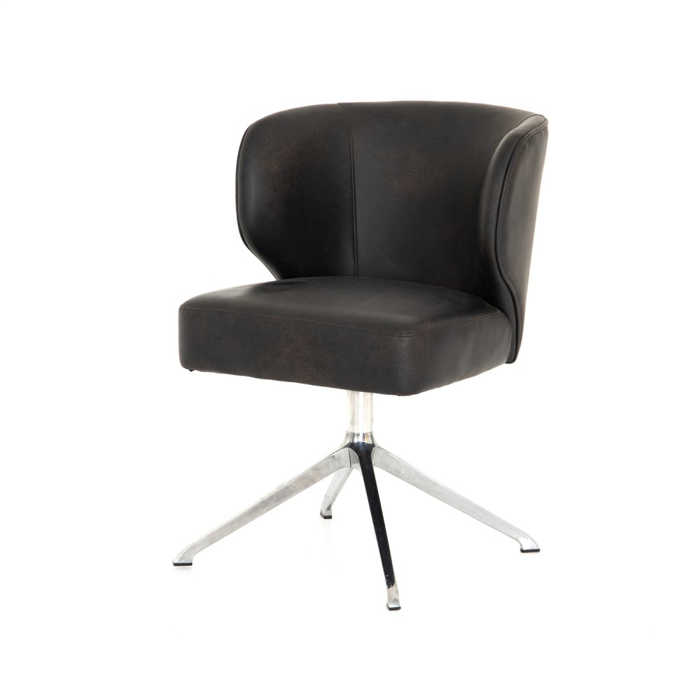 Arianna Desk Chair-distressed Black
