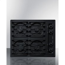 "24"" Wide Sealed Burner Gas Cooktop In Black With Cast Iron Grates and Spark Ignition, Made In the USA"