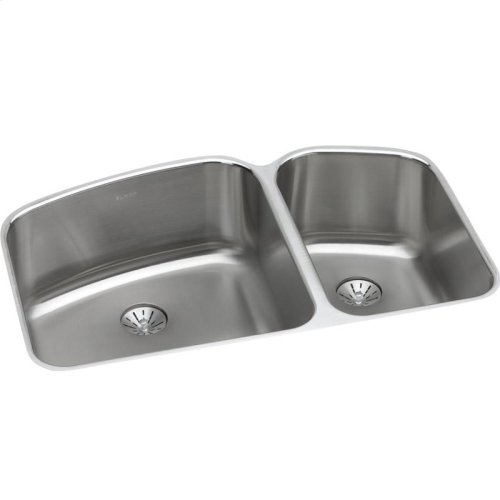 "Elkay Lustertone Classic Stainless Steel 32-3/4"" x 21"" x 9"", 60/40 Double Bowl Undermount Sink with Perfect Drain"
