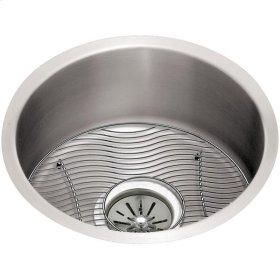 "Elkay Lustertone Classic Stainless Steel 18-3/8"" x 18-3/8"" x 8"", Single Bowl Undermount Sink Kit"