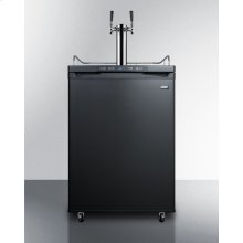 Freestanding Commercially Listed Dual Tap Beer Dispenser, Auto Defrost With Digital Thermostat and Black Exterior Finish