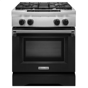 KitchenAid30'' 4-Burner Dual Fuel Freestanding Range, Commercial-Style Imperial Black