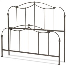 Affinity Metal Headboard and Footboard Bed Panels with Spindles and Detailed Castings, Blackened Taupe Finish, Queen