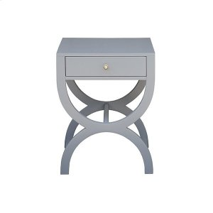 Worlds AwayOne Drawer Side Table In Matte Grey Lacquer