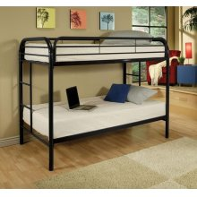 Twin/Twin Metal Bunk Bed With 2 Twin Foam Mattresses