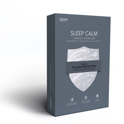 Sleep Calm Pillow Protector with Stain and Dust Mite Defense, Standard / Queen