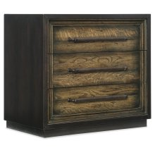 Bedroom Crafted Metal Wrapped Three-Drawer Nightstand