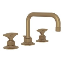 French Brass Graceline U-Spout Widespread Lavatory Faucet with Metal Dial Handle Graceline Series Only