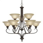 Lancaster 2 Tier - 9 Light Chandelier in Rubbed Bronze with Antique Marbled Glass