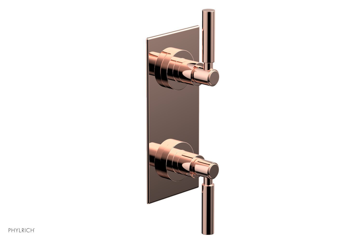 """BASIC 1/2"""" Thermostatic Valve with Volume Control or Diverter Lever Handles 4-344 - Polished Copper"""