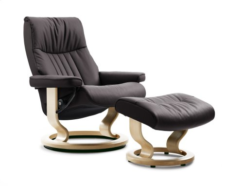 Stressless Crown Medium Classic Base Chair and Ottoman