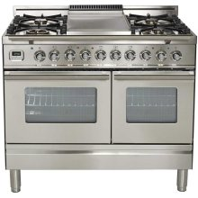 """40"""" - 5 Burner, Double Oven w/ Griddle in Stainless Steel"""
