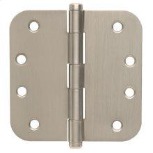 """Door Hardware  4"""" Round Hinge 5/8"""""""" Radius - Satin Nickel"""