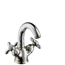 Polished Bronze 2-handle basin mixer 130 with pop-up waste set, swivel spout and copper pipes