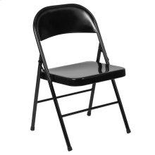 Double Braced Black Metal Folding Chair