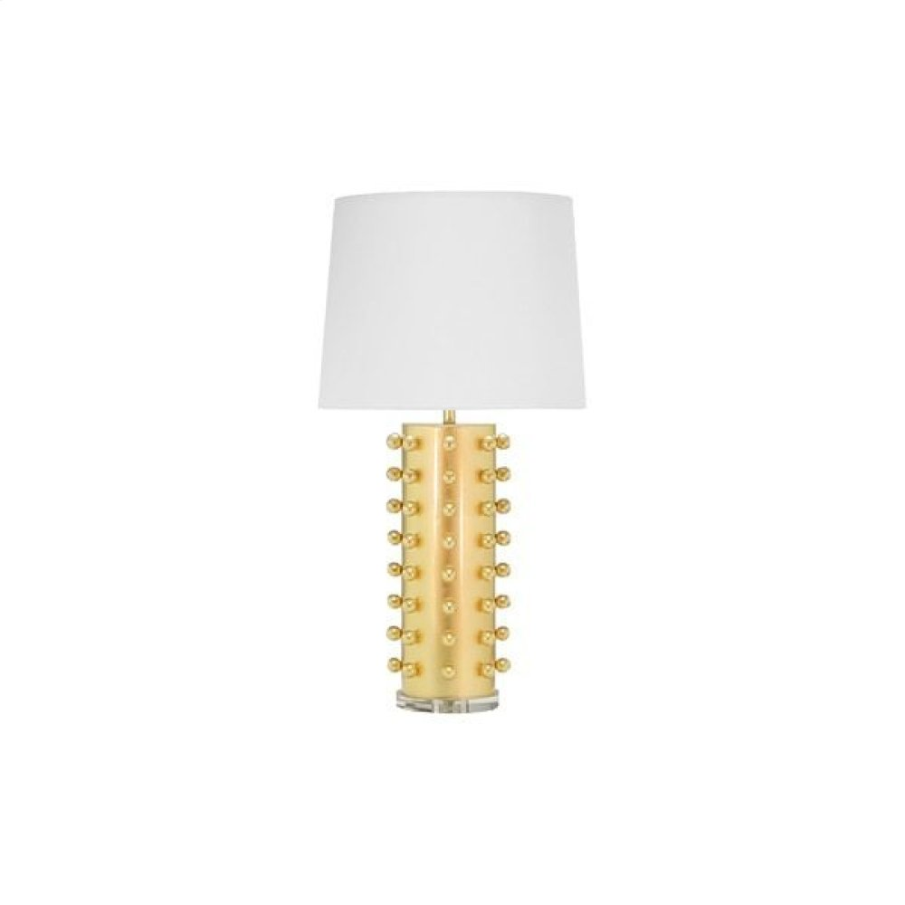 "Ball Studded Table Lamp In Gold Leaf With 15"" Diameter White Linen Shade Ul Approved for One 60 Watt Bulb"