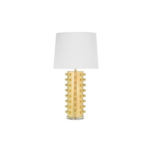 """Ball Studded Table Lamp In Gold Leaf With 15"""" Diameter White Linen Shade Ul Approved for One 60 Watt Bulb"""