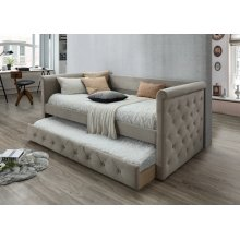 Gabriel Taupe Tufted Upholstered Daybed with Trundle