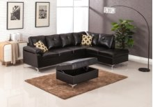 Macy Black Sectional with Storage Ottoman