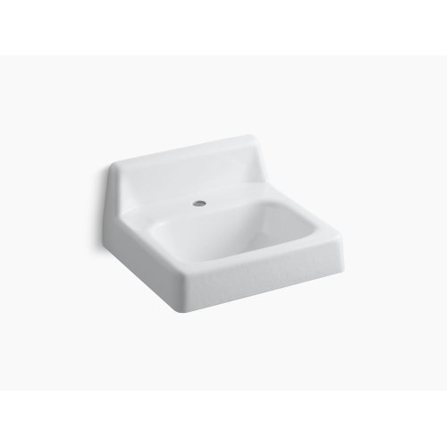 """White 19"""" X 17"""" Wall-mounted Bathroom Sink With Single Faucet Hole"""