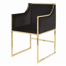 "Black Velvet Dining & Occasional Chair With Brass Frame. Seat Height: 20"" Arm Height: 28"""