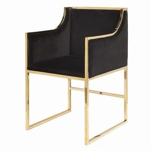 """Worlds AwayBlack Velvet Dining & Occasional Chair With Brass Frame. Seat Height: 20"""" Arm Height: 28"""""""