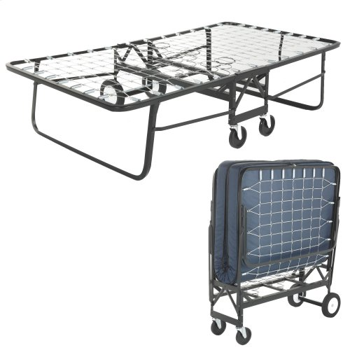 """Rollaway 1291 Folding Bed and 39"""" Anti-Bacterial Fiber Mattress with Angle Steel Frame and Link Deck Sleeping Surface, 38"""" x 75"""""""