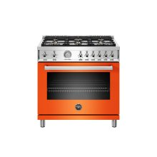 36 inch All Gas Range, 6 Brass Burners Arancio
