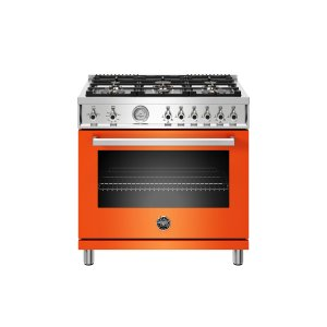 Bertazzoni36 inch All Gas Range, 6 Brass Burners Arancio
