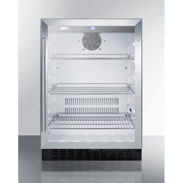 Summit Built-in Undercounter Commercial Glass Door Beverage Refrigerator Designed for the Display and Refrigeration of Beverages or Sealed Food, With Digital Controls, Lock, and Black Cabinet