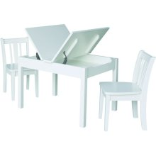 Mission Lift Top Storage Table and Chairs in White