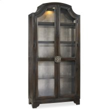 Living Room Sanctuary Glass Bunching Curio-Ebony Antiqued Oak