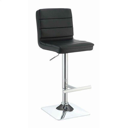Contemporary Black Adjustable Padded Back Bar Stool