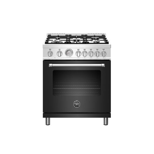30 inch Dual Fuel, 5 Burners, Electric Oven Matt Black