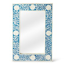 This magnificent Wall Mirror features sophisticated artistry and consummante craftsmansip. The botanic patterns covering the piece are created from white bone inlays cut and individually applied in a sea of blue by the hands of a skillful artisan. No two