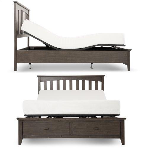 Sunrise Slim-Profile Adjustable Bed Base for Platform Beds with Wireless Remote, Charcoal Gray, Split King