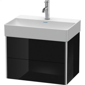 Vanity Unit Wall-mounted Compact, Black High Gloss Lacquer