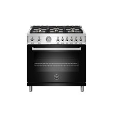 36 inch All Gas Range, 6 Brass Burners Black