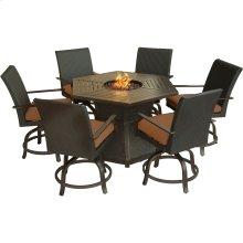 Aspen Creek 7-Piece Fire Pit Dining Set