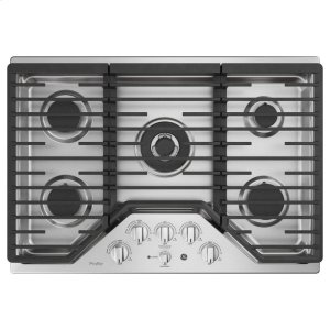 "GE ProfileGE PROFILEGE Profile™ 30"" Built-In Tri-Ring Gas Cooktop with 5 Burners and Optional Extra-Large Integrated Griddle"