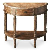 Exuding rustic charm, this elegant demilune console is perfect for small spaces. Meticulously crafted from poplar hardood solids and wood products, it has an aged painted finish over choice birch veneers. Features include a storage drawer with antique bra