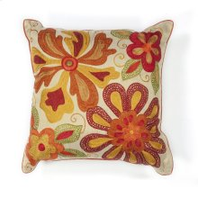 "L123 Ivory/red Sea Flora Pillow 18"" X 18"""