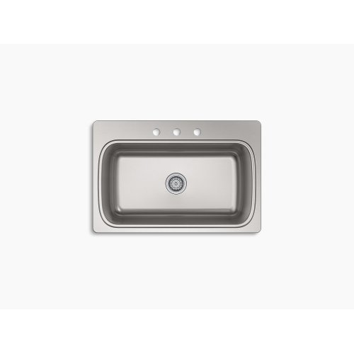 """33"""" X 22"""" X 9-5/16"""" Top-mount Single-bowl Kitchen Sink With 3 Faucet Holes"""