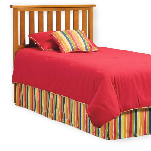 Belmont Wood Headboard Panel with Flat Top Rail and Slatted Grill Design, Maple Finish, Full / Queen