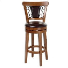 Trenton Wood Barstool with Brown Upholstered Swivel-Seat and Nutmeg Frame Finish, 30-Inch